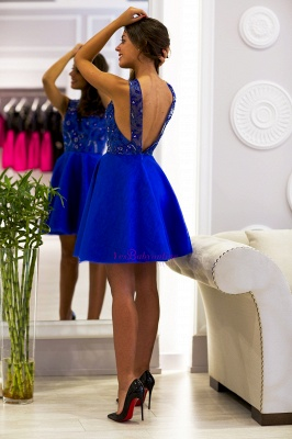 Cute Scoop-Neck Royal-Blue Short V-back Prom Dress_1