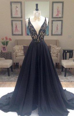 Long A-Line Applique Sleeveless Gorgeous V-Neck Black Evening Dresses_2