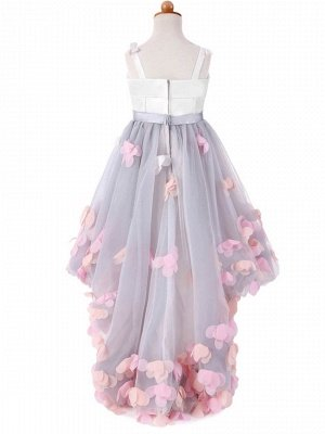 Cute A-Line Tulle Straps Bowknot Sweep Train Flower Girl Dress_3