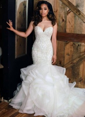 Charming Mermaid Beading Wedding Dresses | Sweetheart Neck Ruffles Skirt Bridal Gowns_1