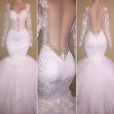 Long Sleeves Lace Prom Dresses Backless | White Mermaid Evening Gowns_3