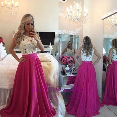 Sleeveless Long A-line Gorgeous Pearls Fuchsia Lace Evening Gowns_1
