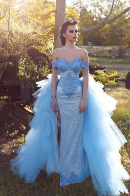 Glamorous Mesh Blue Off-the-shoulder Lace Appliques Evening Dress_2