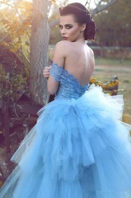 Glamorous Mesh Blue Off-the-shoulder Lace Appliques Evening Dress_3