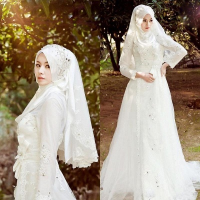 Bowknot Arabic A-line Exquisite Beaded White Wedding Dress_4