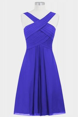 A-line Chiffon Straps Knee Length Bridesmaid Dresses with Ruffles_2