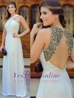 Long Chiffon Sleevless Zipper halter Beadings Beautiful Evening Dress_2