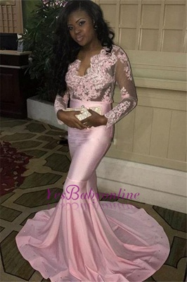V-neck Long-Sleeves Sweep-Train Long Pink Mermaid Lace-Appliques Evening Dress_1