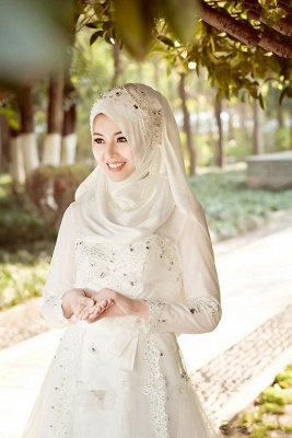 Bowknot Arabic A-line Exquisite Beaded White Wedding Dress_3
