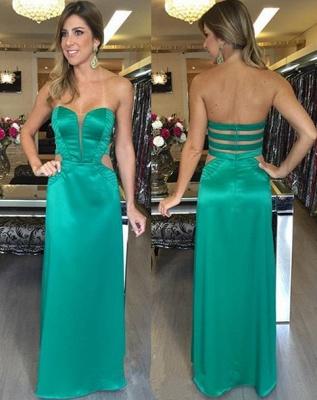 Long Zipper Elegant Sweetheart Green Natural Sleeveless Prom Dresses_2