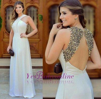 Long Chiffon Sleevless Zipper halter Beadings Beautiful Evening Dress_1