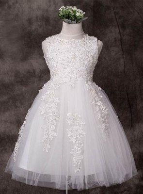 Cute A-Line Tulle Jewel Applique Knee-Length Flower Girl Dress_1