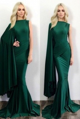 Dark Green Mermaid Evening Gowns One Shoulder Stylish Formal Prom Dresses_1
