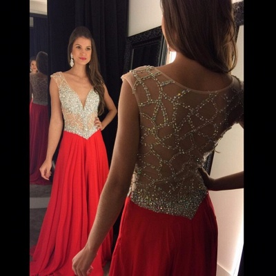 2019 Red Chiffon Prom Dresses V-Neck Capped Sleeves Crystals Luxury Evening Gowns_3