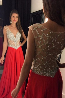 2019 Red Chiffon Prom Dresses V-Neck Capped Sleeves Crystals Luxury Evening Gowns_2