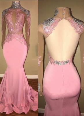 Elegant Pink Mermaid Prom Dresses | High Neck Open-Back Beaded Evening Gowns_1