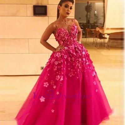 prom long dresses fuchsia princess Flower prom dresses_1