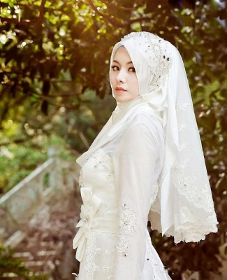 Bowknot Arabic A-line Exquisite Beaded White Wedding Dress_2