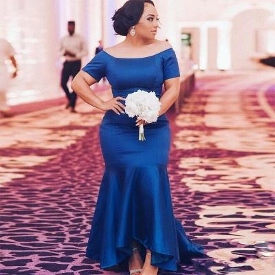 Elegant Blue Plus Size Wedding Party Dresses   Mermaid Satin Bridesmaid Dresses_3