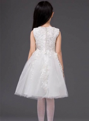 Cute A-Line Tulle Jewel Applique Knee-Length Flower Girl Dress_3