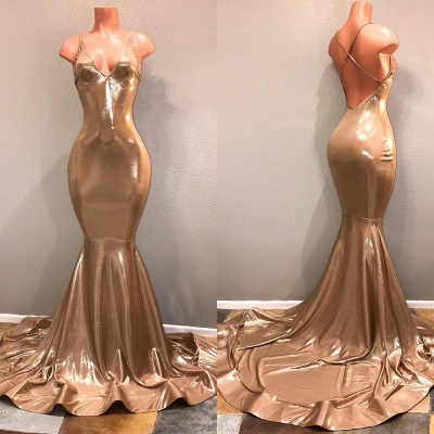 Gold Spaghetti Straps Prom Dresses | Long Mermaid Backless Evening Dresses_3