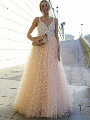 Spaghetti-Straps A-Line Crystals Brilliant Beaded Prom Dresses_2