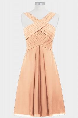 A-line Chiffon Straps Knee Length Bridesmaid Dresses with Ruffles_4