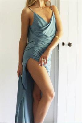 Ruffles Side-Slit Spagheti-Straps Summer Sexy Prom Dress_4