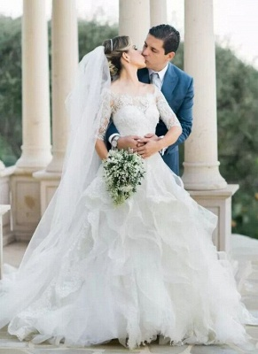 Layers Ball-Gown Lace Half Sleeves Off-the-Shoulder Wedding Dresses_2