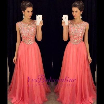 Sleeveless Crystal  Popular Scoop A-Line Prom Dress_1