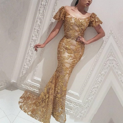 Gorgeous Mermaid Off-the-Shoulder Gold Prom Dress | Evening Dress_3