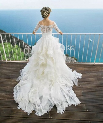 Layers Ball-Gown Lace Half Sleeves Off-the-Shoulder Wedding Dresses_5