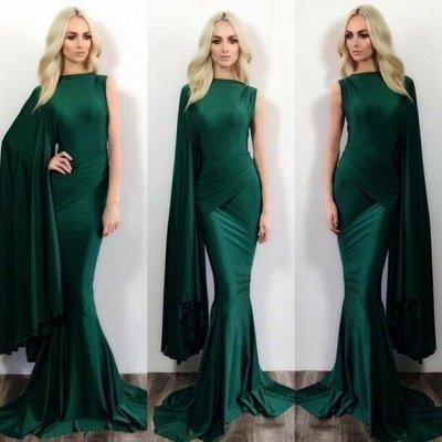 Dark Green Mermaid Evening Gowns One Shoulder Stylish Formal Prom Dresses_3