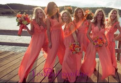 Elegant Simple A-line V-neck Sleeveless Chic Chiffon Ruffles Bridesmaid Dress_1