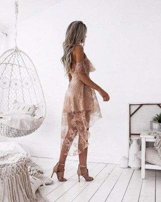 Dusty Pink Homecoming Dresses Ruffles Sheer Layer Short Prom Dresses_4