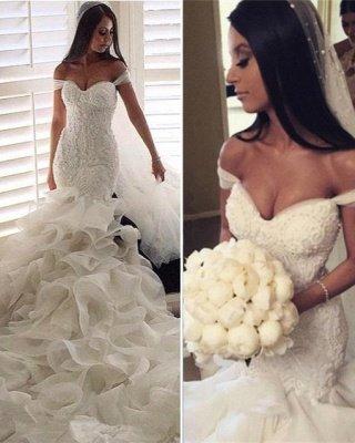 Glamorous Off-the-Shoulder Ruffles Train Mermaid Wedding Dresses_2