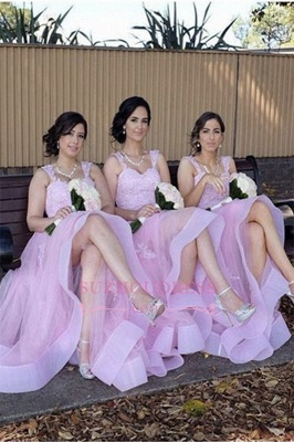 Appliques A-Line Straps Tulle Elegant Lace Bridesmaid Dresses_2