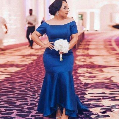 Elegant Blue Plus Size Wedding Party Dresses | Mermaid Satin Bridesmaid Dresses_3
