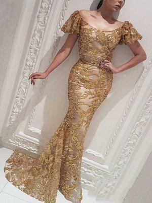 Gorgeous Mermaid Off-the-Shoulder Gold Prom Dress | Evening Dress_1