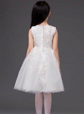 Cute A-Line Tulle Jewel Applique Knee-Length Flower Girl Dress_3