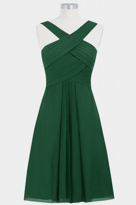 A-line Chiffon Straps Knee Length Bridesmaid Dresses with Ruffles_1
