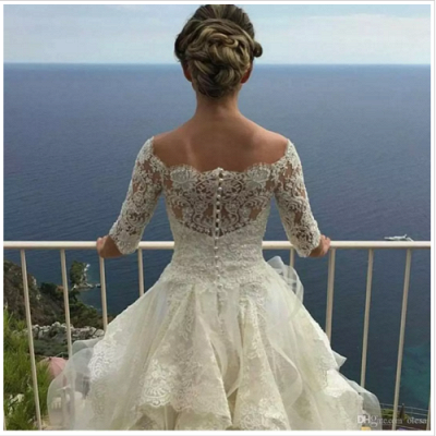 Layers Ball-Gown Lace Half Sleeves Off-the-Shoulder Wedding Dresses_3