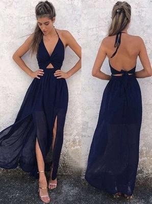 A-Line Side-Slit Halter Newest Dark-Navy Backless Prom Dress BA6515_2