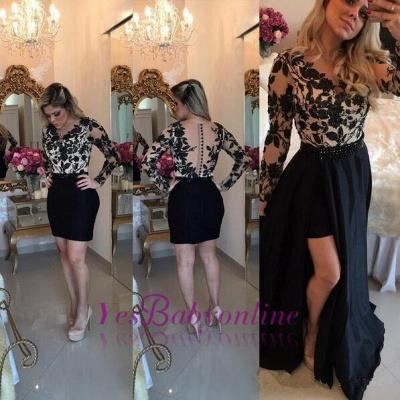 Appliques Detachable Skirt Sheath Black Short Homecoming Dresses with Long Sleeves_1