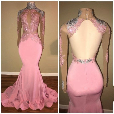 Elegant Pink Mermaid Prom Dresses | High Neck Open-Back Beaded Evening Gowns_3