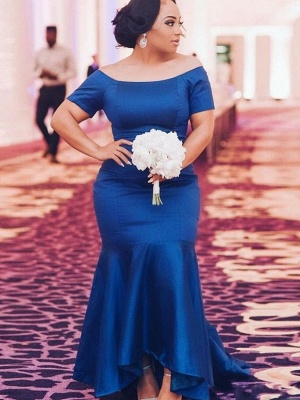 Elegant Blue Plus Size Wedding Party Dresses | Mermaid Satin Bridesmaid Dresses_1
