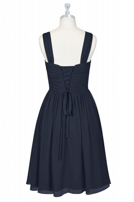 A-line Chiffon Ruffle Two Straps knee Length Bridesmaid Dresses_2