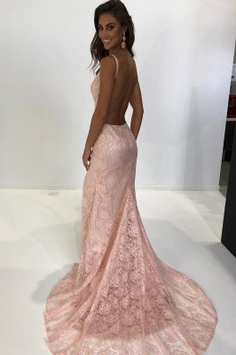 Sexy Pink Lace Prom Dresses | Spaghetti Straps Mermaid Evening Dresses_3