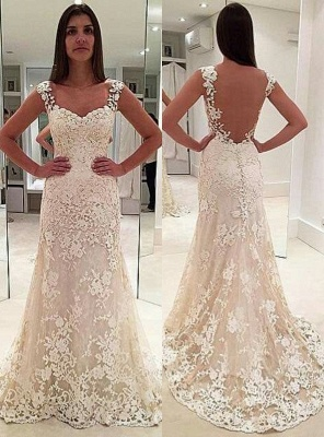 Glamorous Lace Straps Backless Sleeveless Mermaid  Wedding Dresses_2