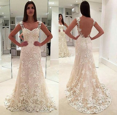 Glamorous Lace Straps Backless Sleeveless Mermaid  Wedding Dresses_3